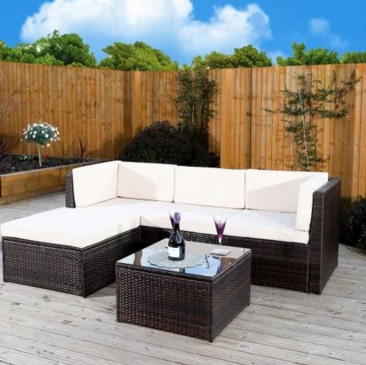 4 Seater Rattan Effect Corner Sofa Set