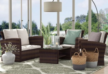 4 Seater Rattan Effect Sofa Set With