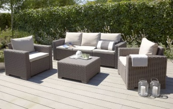 5 Seater Rattan Effect Sofa Set With